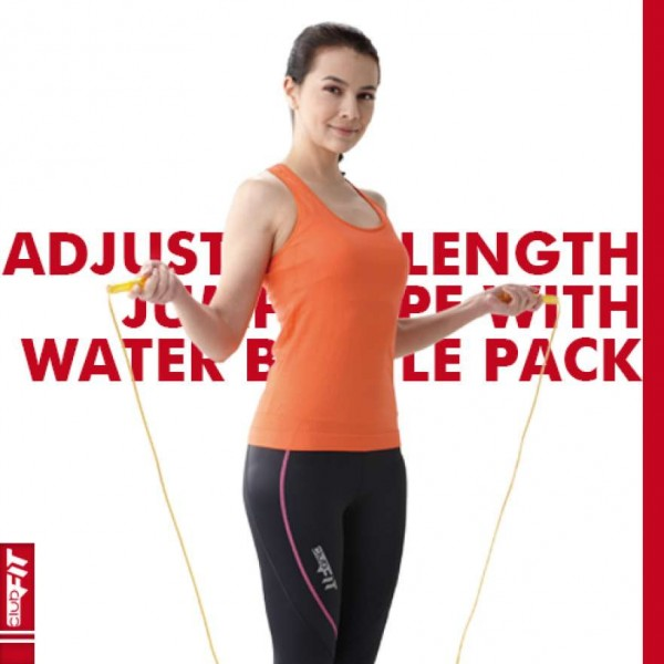 ClubFIT ADJUSTABLE LENGTH JUMP ROPE WITH WATER BOTTLE PACK CP01